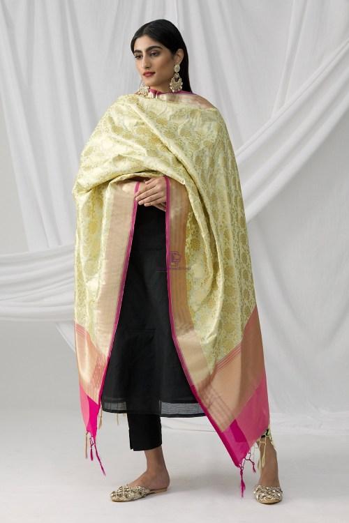 Woven Banarasi Art Silk Dupatta in Beige 9