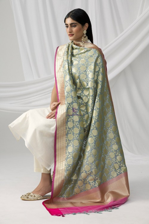 Woven Banarasi Art Silk Dupatta in Grey 9