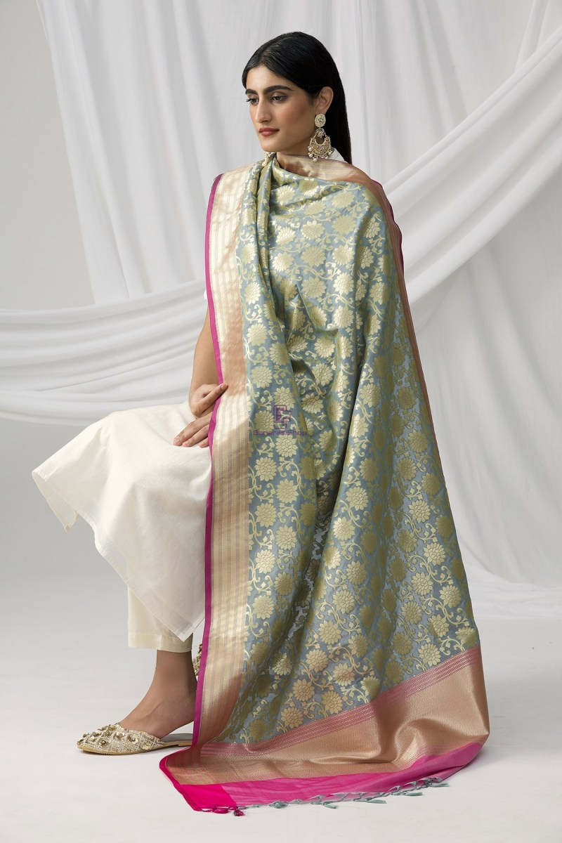 Woven Banarasi Art Silk Dupatta in Grey 5