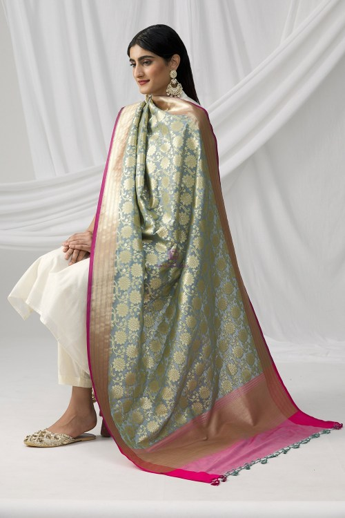 Woven Banarasi Art Silk Dupatta in Grey 8