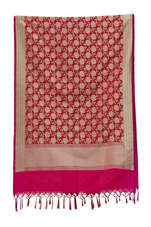 Woven Banarasi Art Silk Dupatta in Red 7