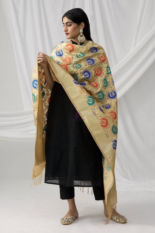 Woven Banarasi Art Silk Kimkhab Dupatta in Beige 6