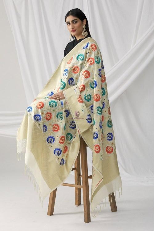 Woven Banarasi Art Silk Kimkhab Dupatta in White 6