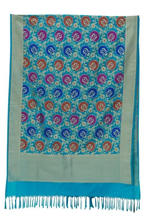 Woven Banarasi Art Silk Kimkhab Dupatta in Sky Blue 7