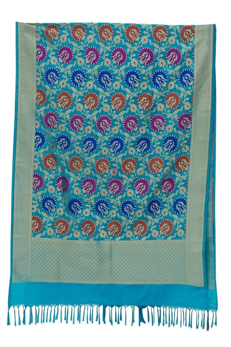 Woven Banarasi Art Silk Kimkhab Dupatta in Sky Blue 3