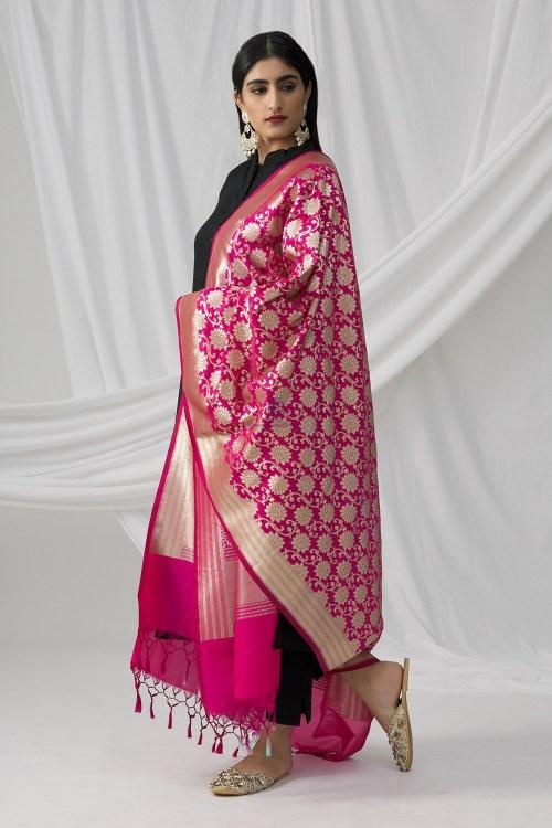 Woven Banarasi Art Silk Dupatta in Fuchsia 6