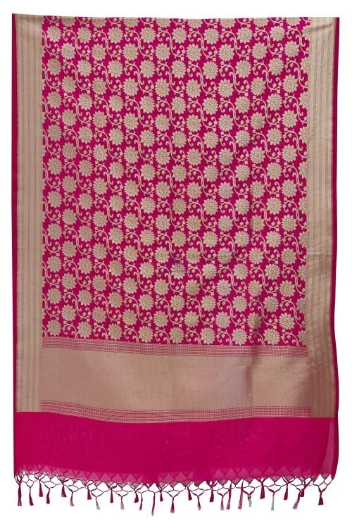 Woven Banarasi Art Silk Dupatta in Fuchsia 7