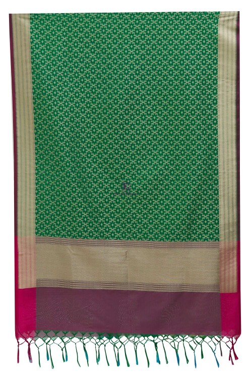 Woven Banarasi Art Silk Dupatta in Green 8