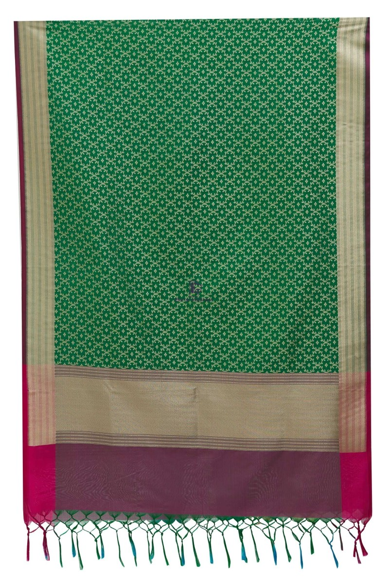Woven Banarasi Art Silk Dupatta in Green 4
