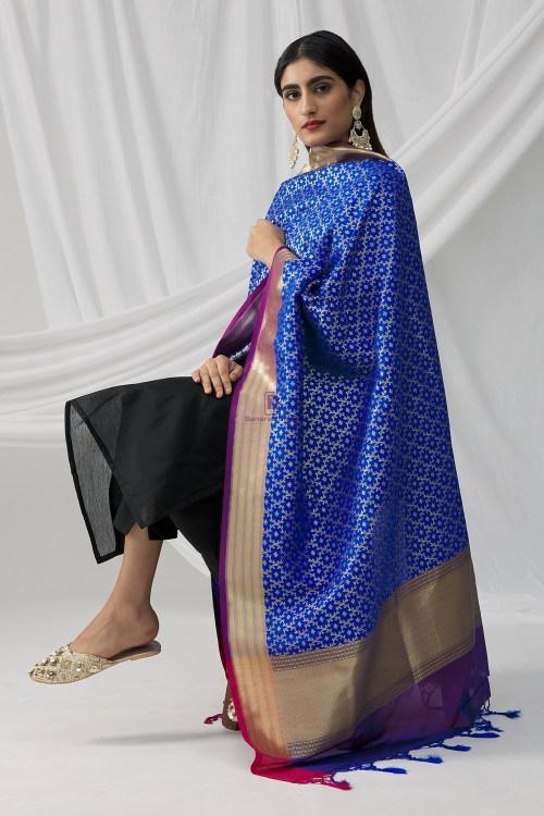 Woven Banarasi Art Silk Dupatta in Royal Blue 8