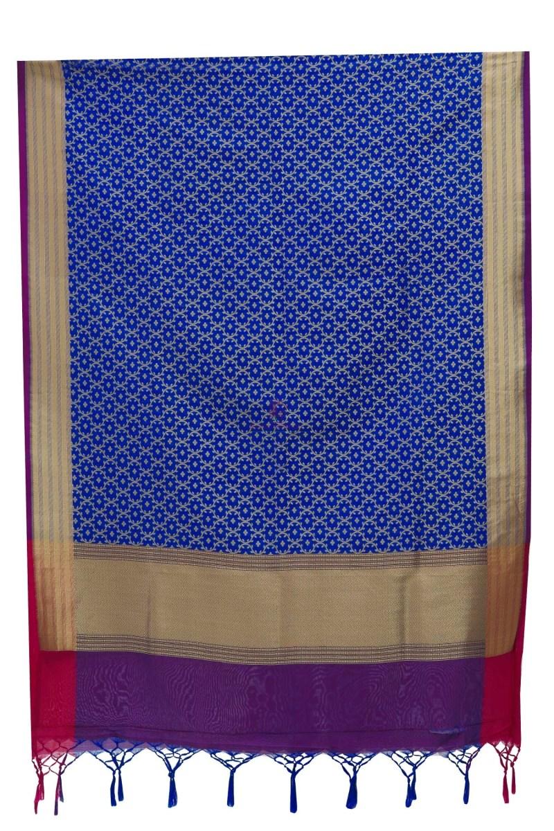 Woven Banarasi Art Silk Dupatta in Royal Blue 5