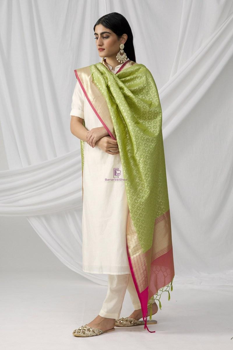 Woven Banarasi Art Silk Dupatta in Pista Green 1