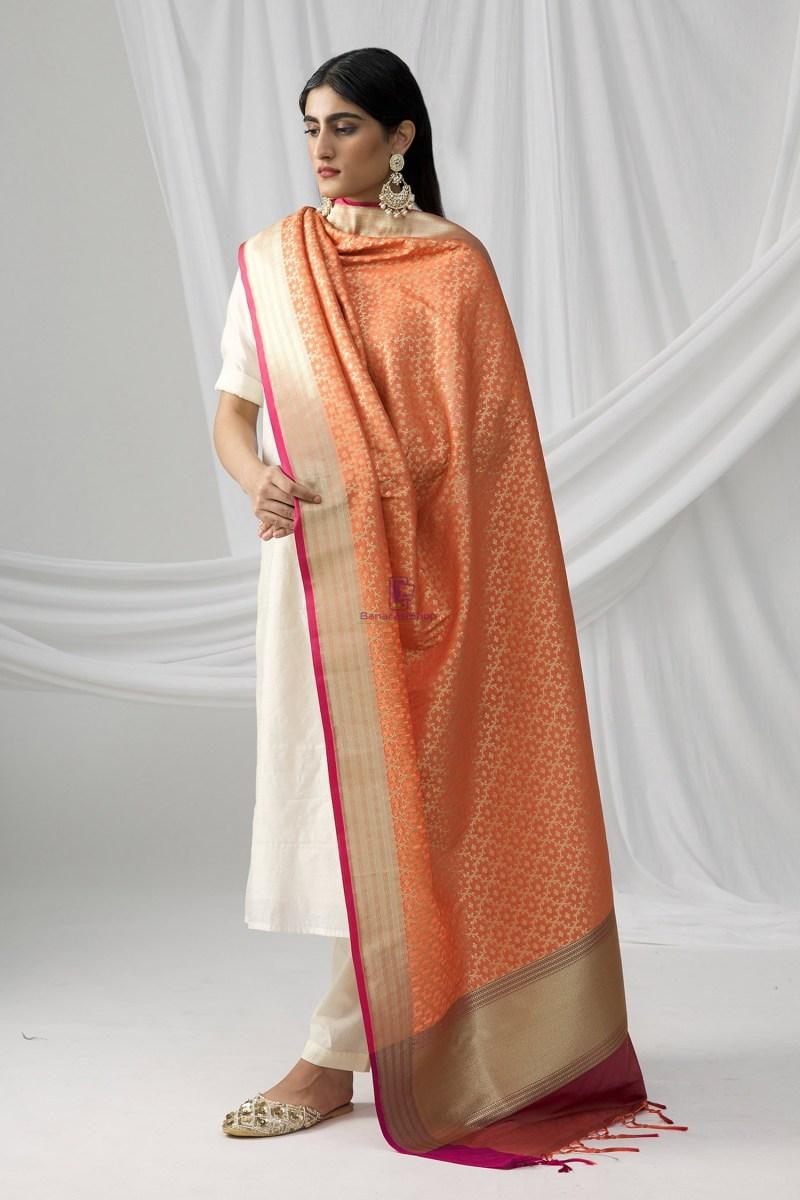 Woven Banarasi Art Silk Dupatta in Peach 1