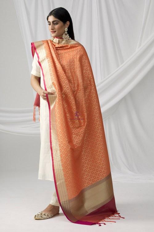 Woven Banarasi Art Silk Dupatta in Peach 7