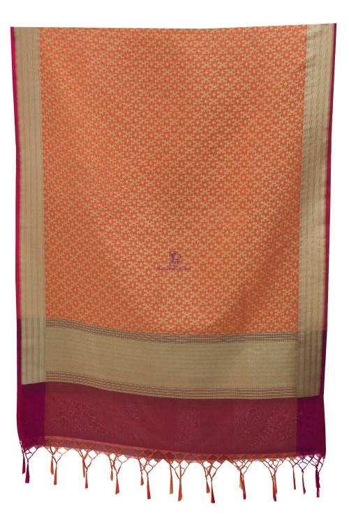 Woven Banarasi Art Silk Dupatta in Peach 9
