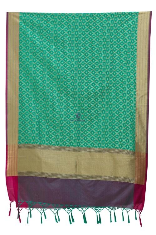 Woven Banarasi Art Silk Dupatta in Turquoise 7