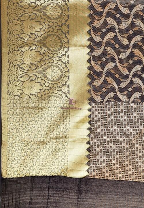 Woven Cotton Silk Saree in Black 6