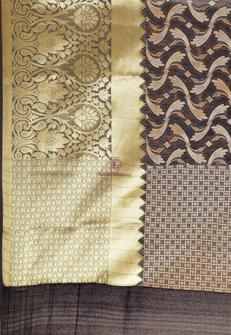Woven Cotton Silk Saree in Black 3