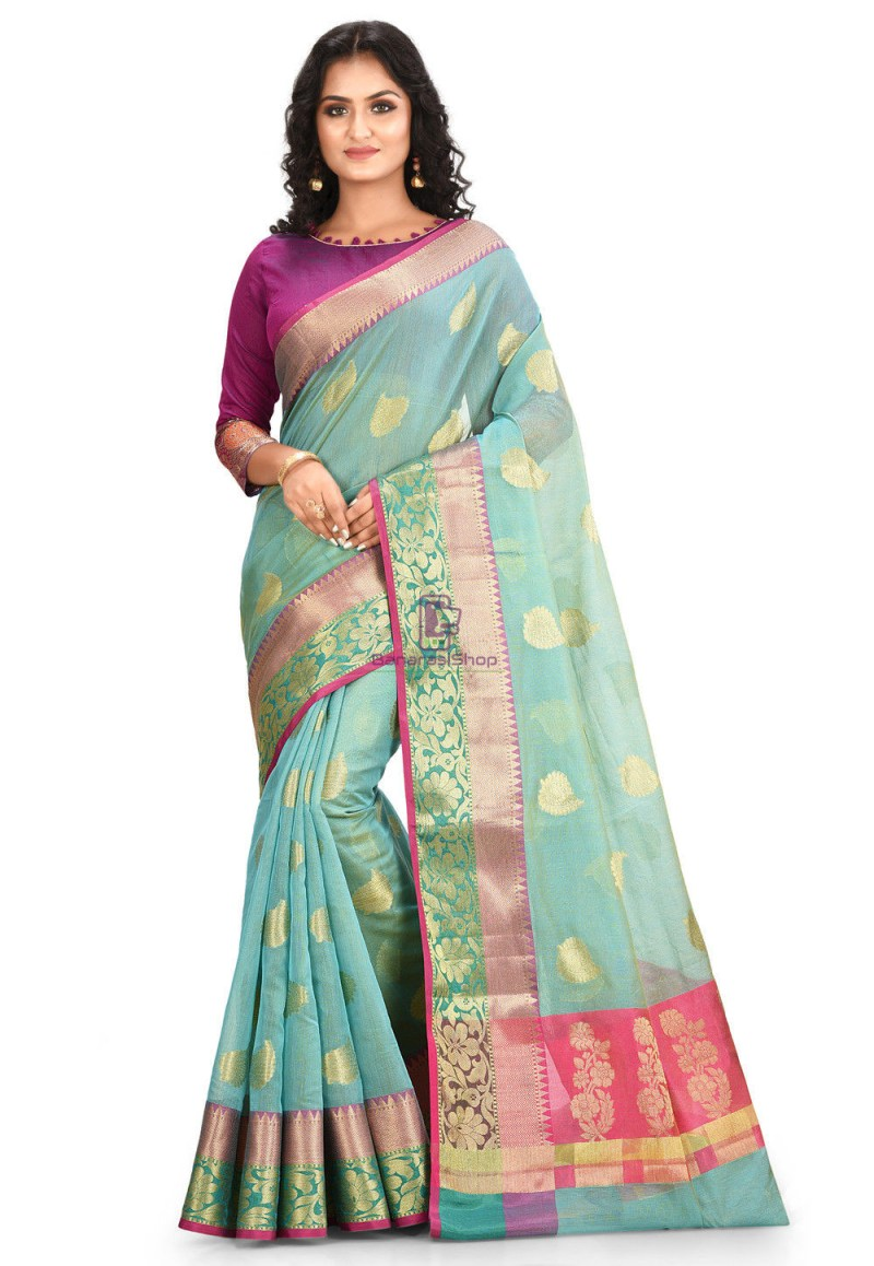 Woven Cotton Silk Saree in Blue and Mustard Dual Tone 1