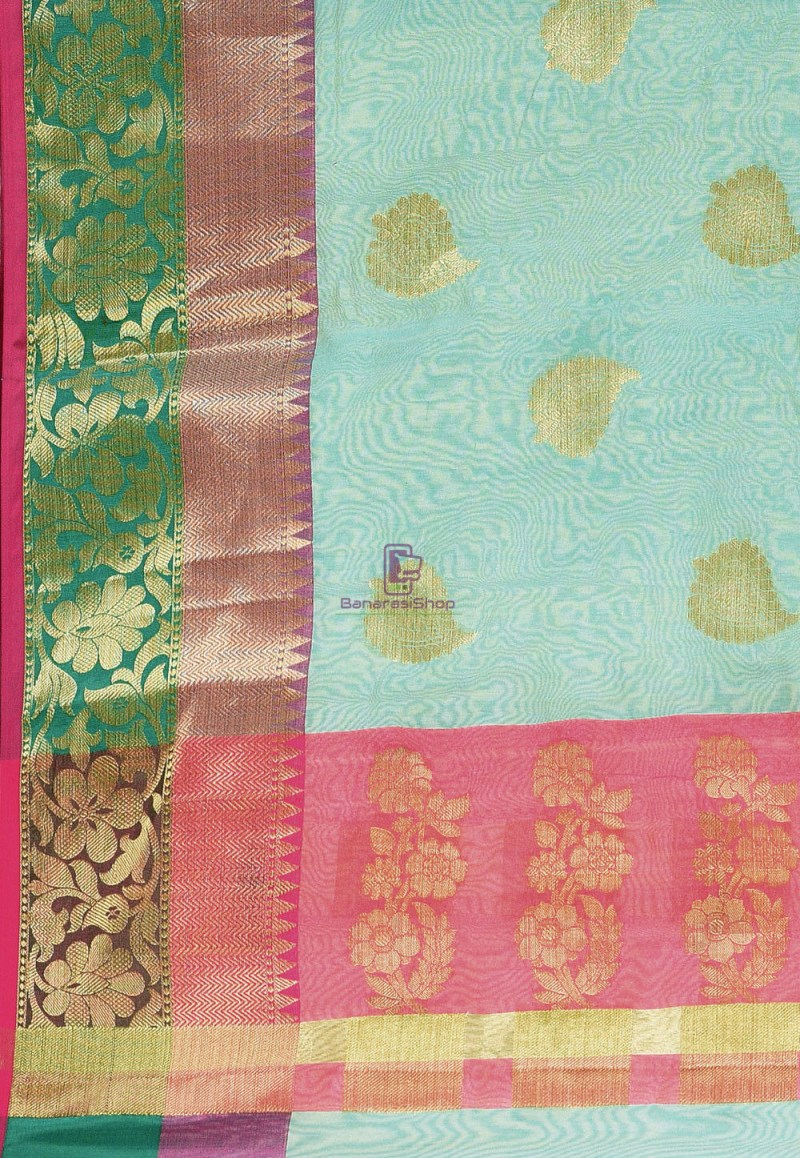 Woven Cotton Silk Saree in Blue and Mustard Dual Tone 3