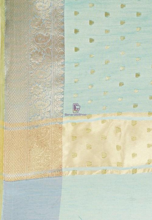 Woven Cotton Silk Saree in Blue and Mustard Dual Tone 6