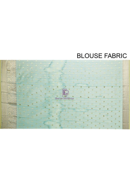 Woven Cotton Silk Saree in Blue and Mustard Dual Tone 7