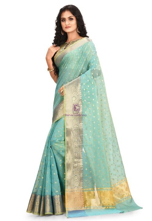 Woven Cotton Silk Saree in Blue and Mustard Dual Tone 5