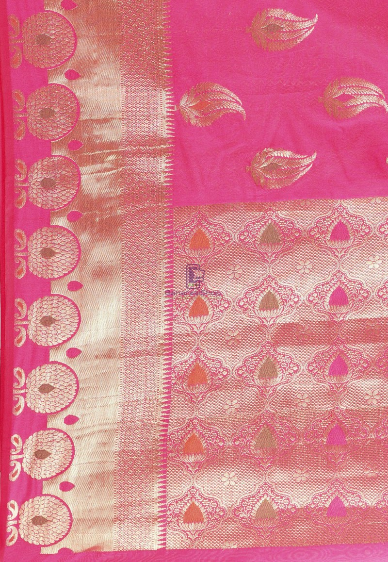 Woven Cotton Silk Saree in Fuchsia 3