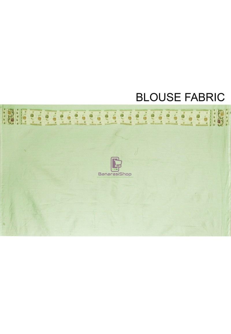 Woven Cotton Silk Saree in Green 4