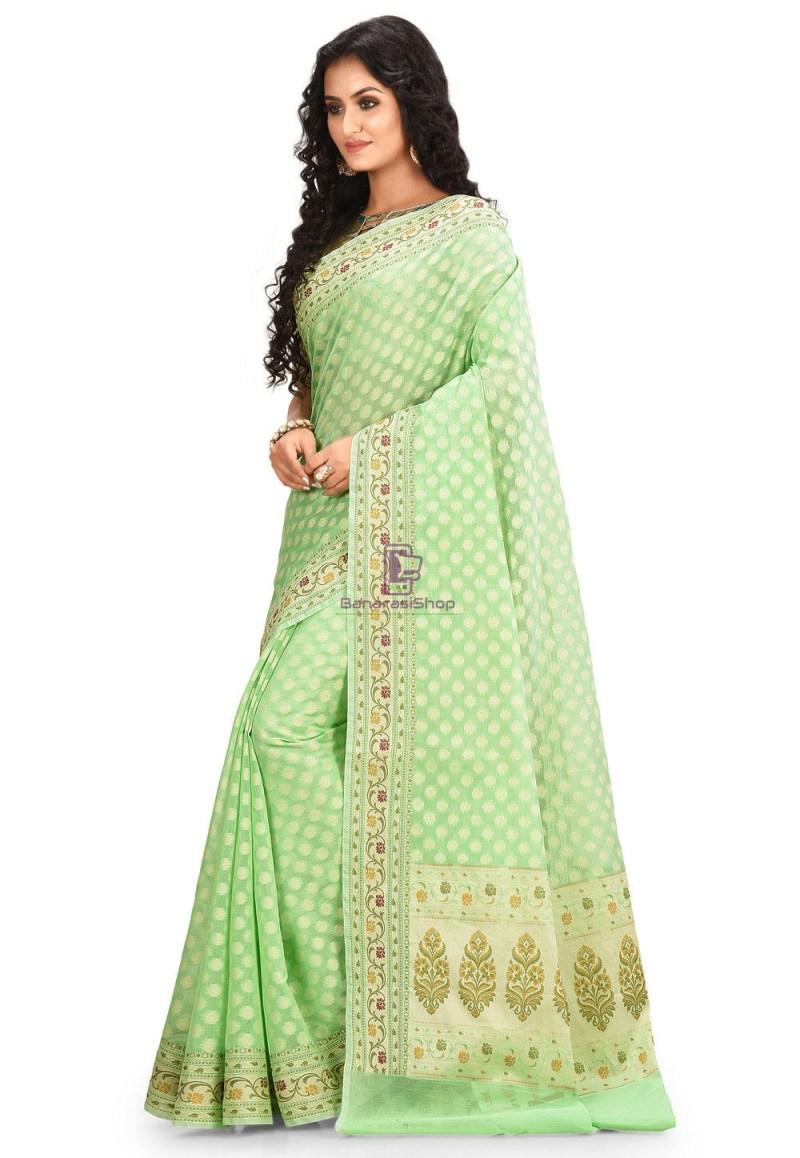 Woven Cotton Silk Saree in Green 2