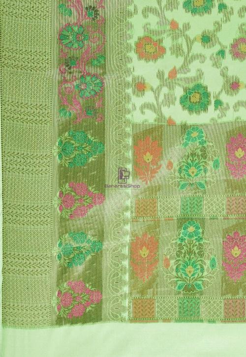 Woven Cotton Silk Saree in Green 6
