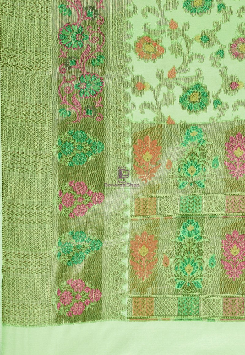 Woven Cotton Silk Saree in Green 3
