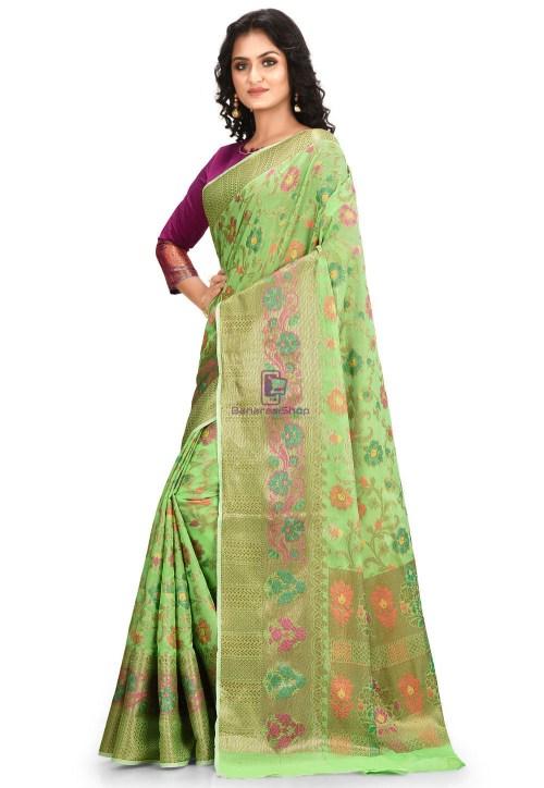 Woven Cotton Silk Saree in Green 5
