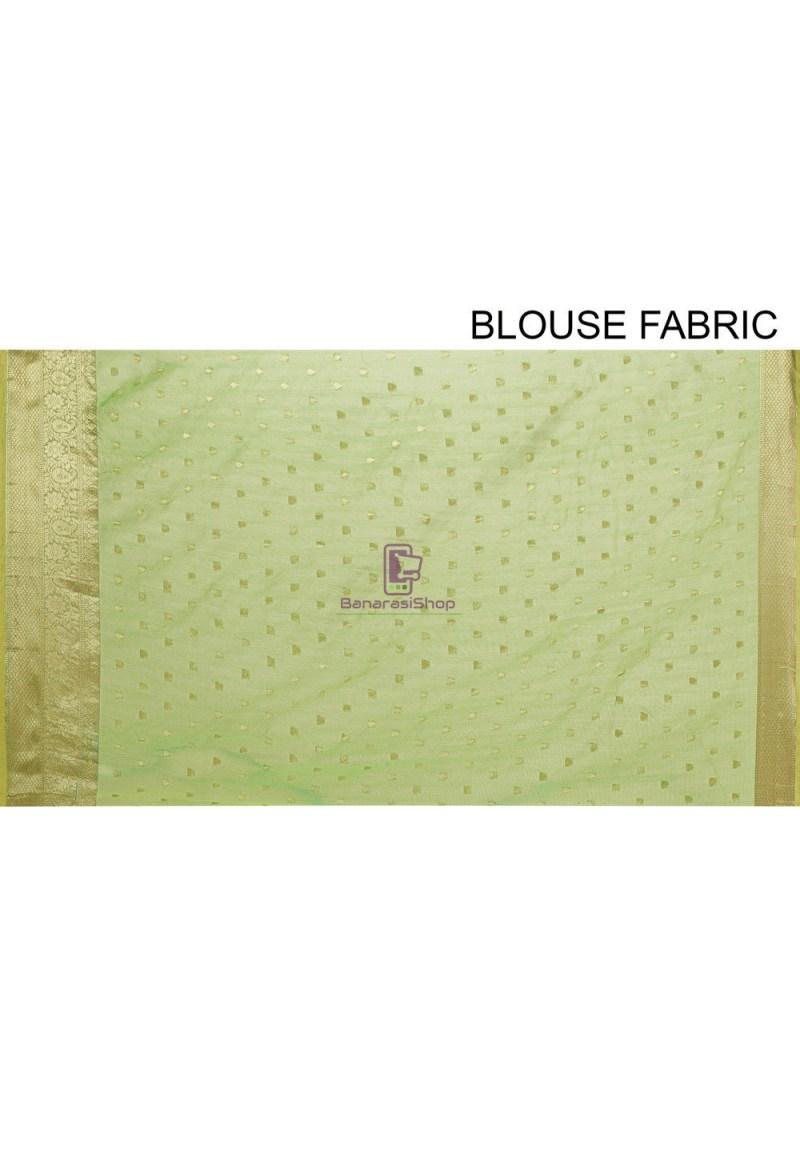Woven Cotton Silk Saree in Light Green 4