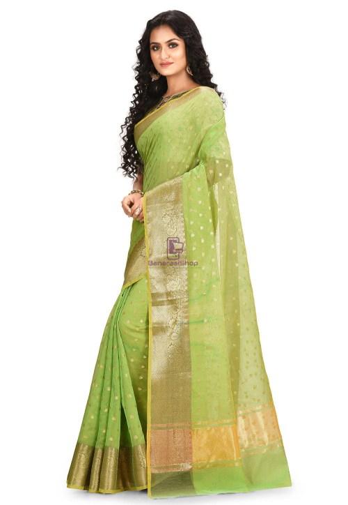Woven Cotton Silk Saree in Light Green 5