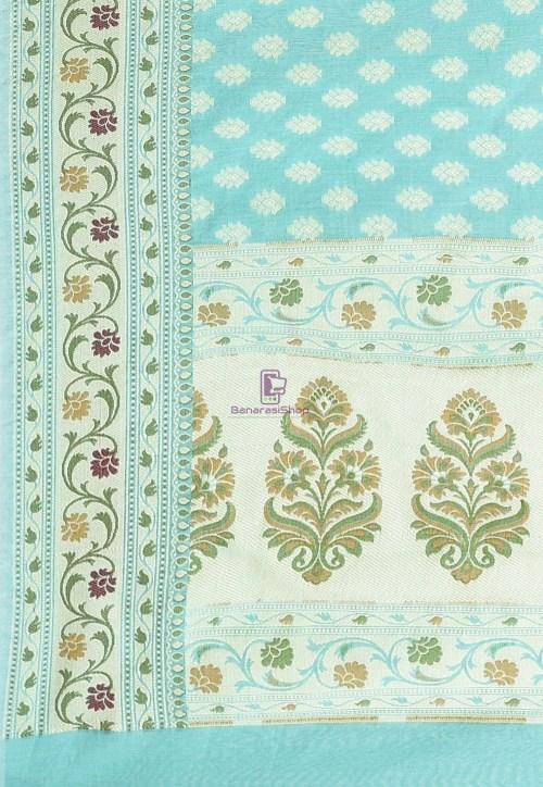Woven Cotton Silk Saree in Light Teal Blue 6