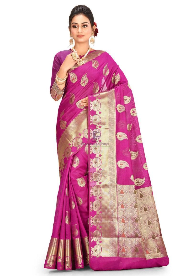 Woven Cotton Silk Saree in Magenta 1