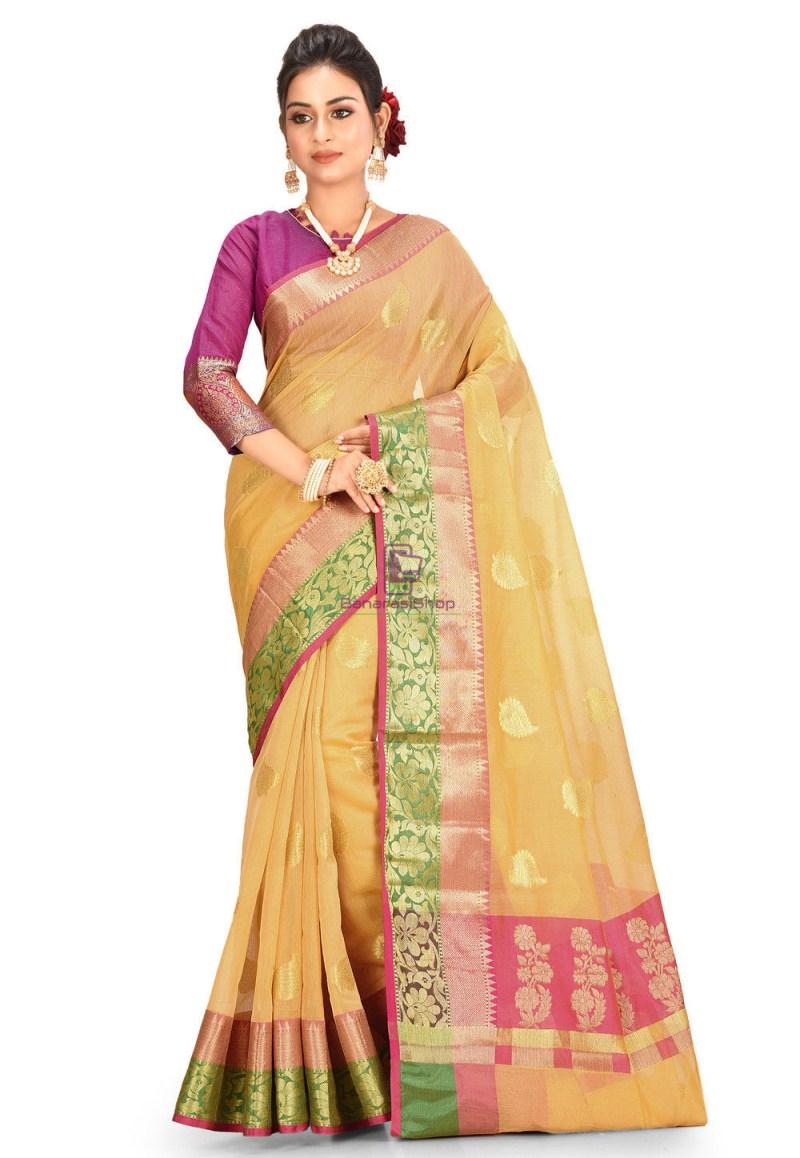 Woven Cotton Silk Saree in Mustard 1