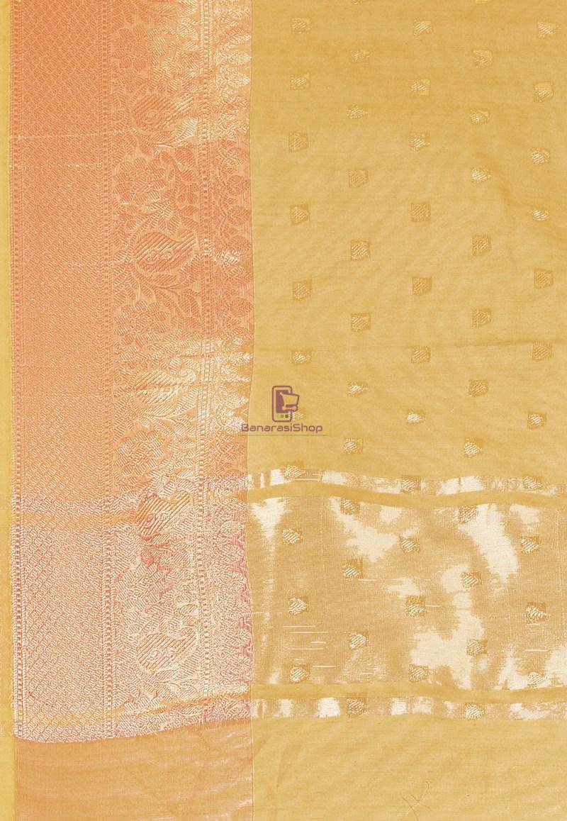 Woven Cotton Silk Saree in Mustard 3
