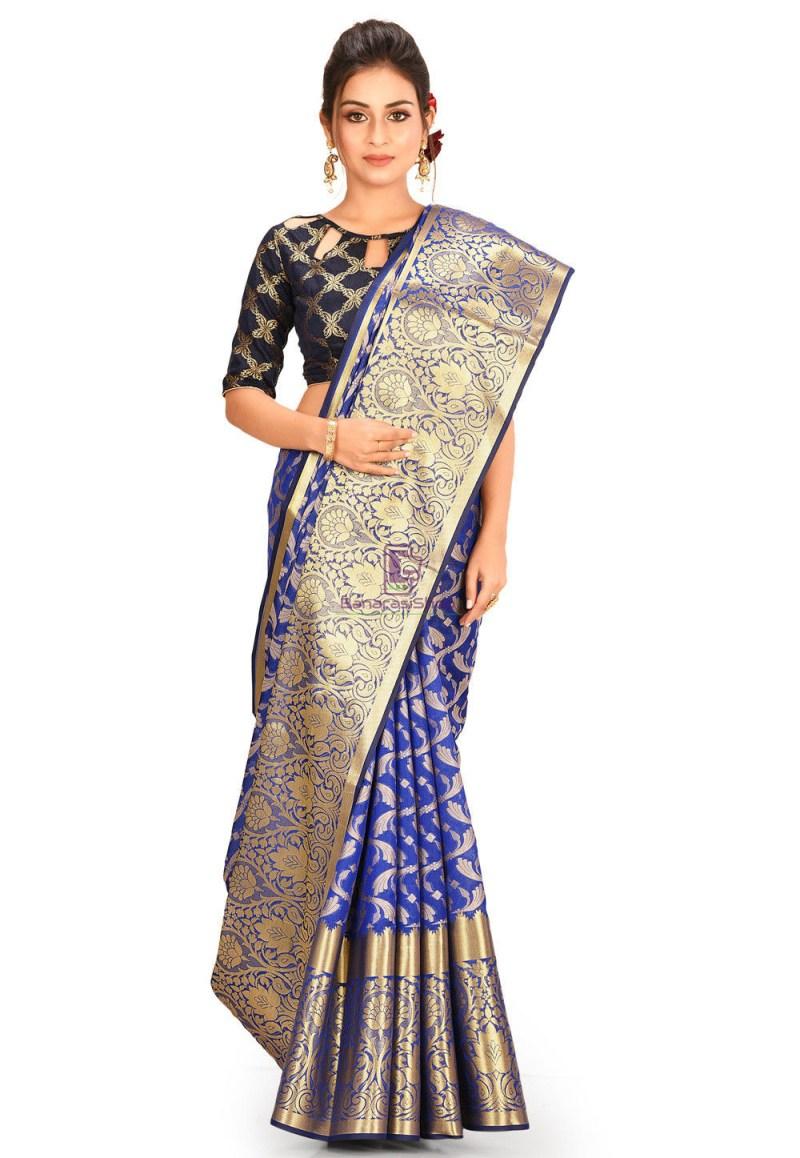 Woven Cotton Silk Saree in Navy Blue 1
