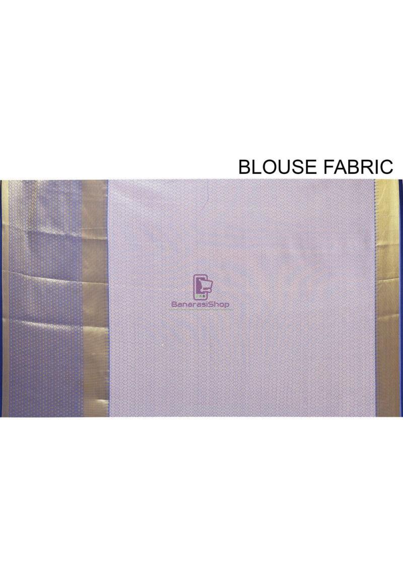 Woven Cotton Silk Saree in Navy Blue 4