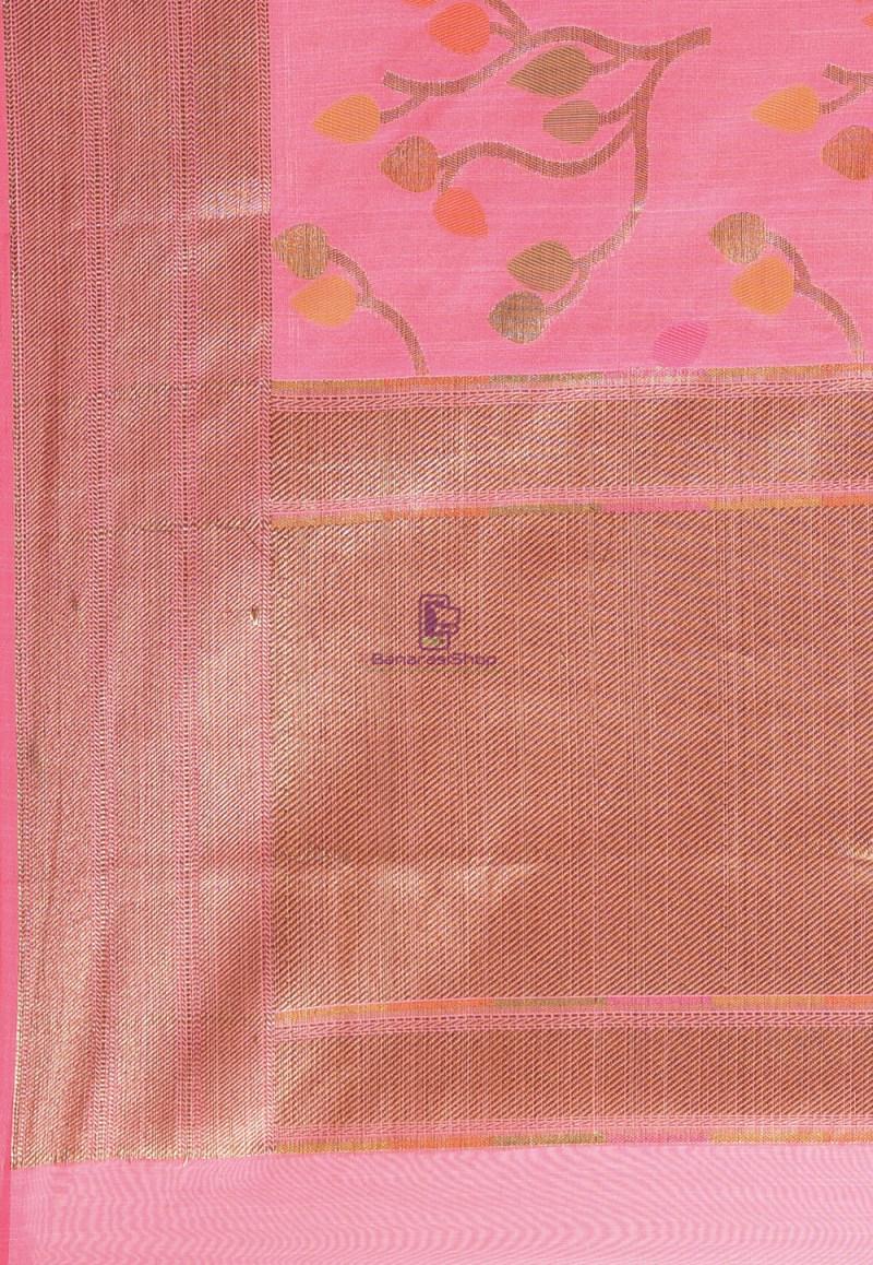 Woven Cotton Silk Saree in Pink 3