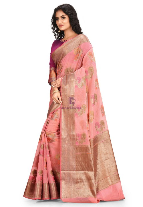 Woven Cotton Silk Saree in Pink 5