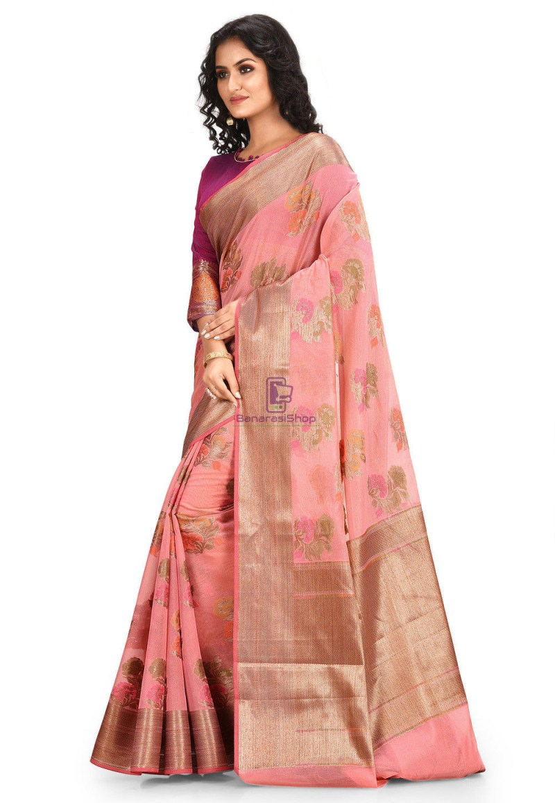 Woven Cotton Silk Saree in Pink 2