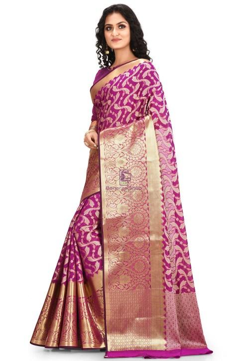 Woven Cotton Silk Saree in Purple 5
