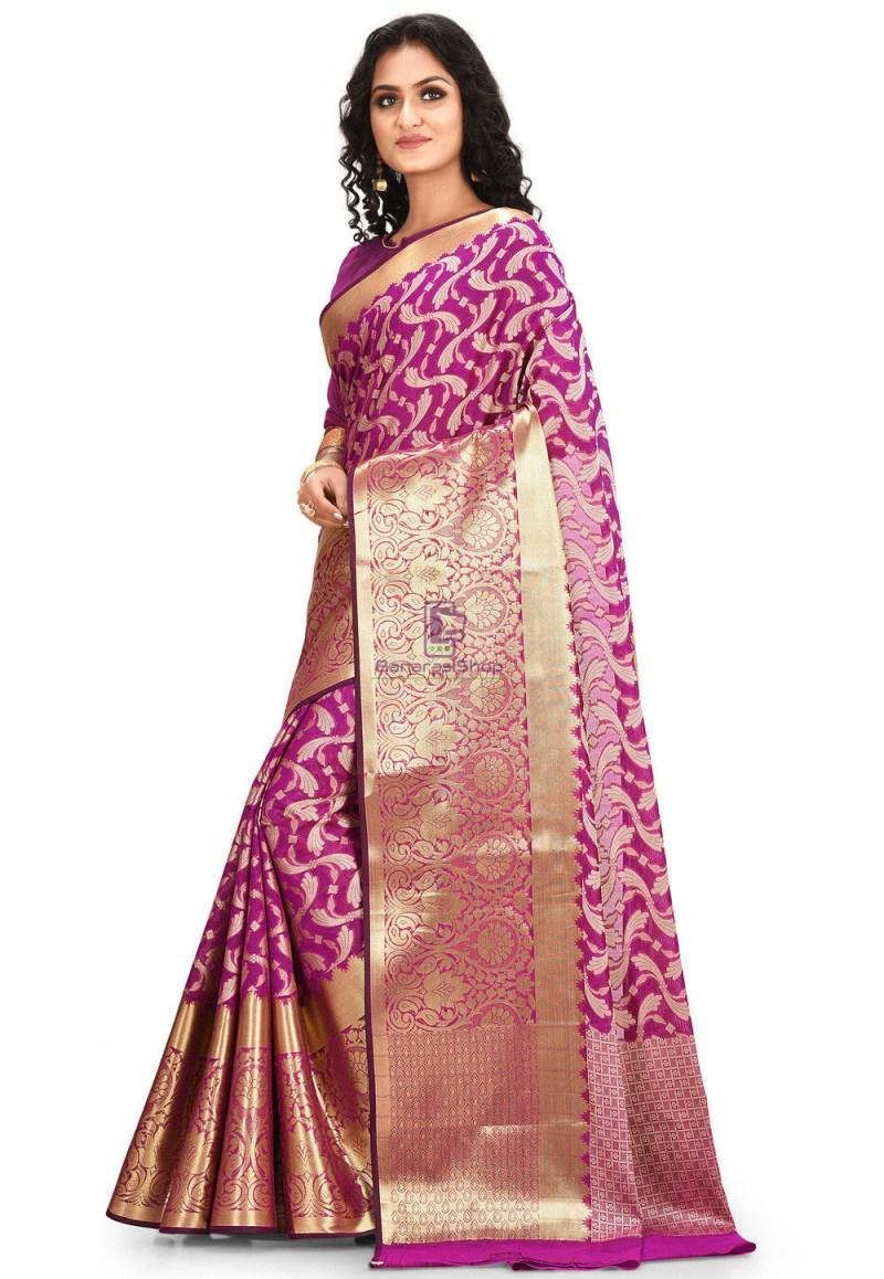 Woven Cotton Silk Saree in Purple 2