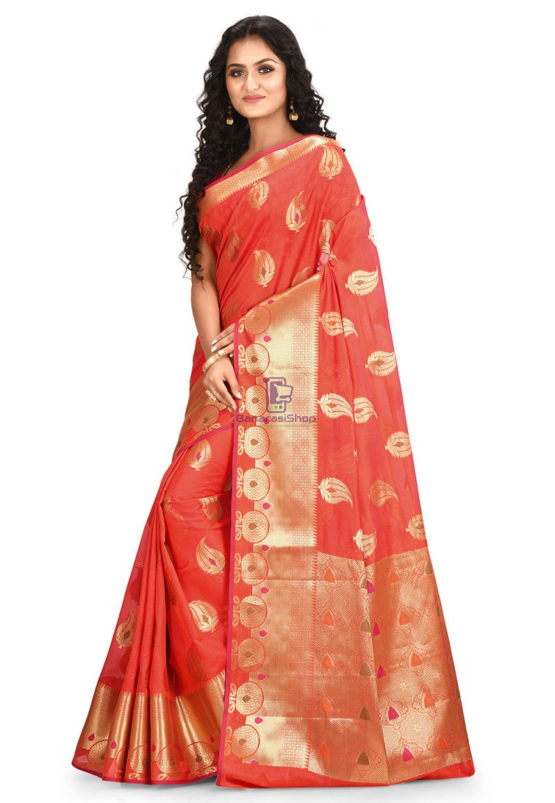 Woven Cotton Silk Saree in Red 2