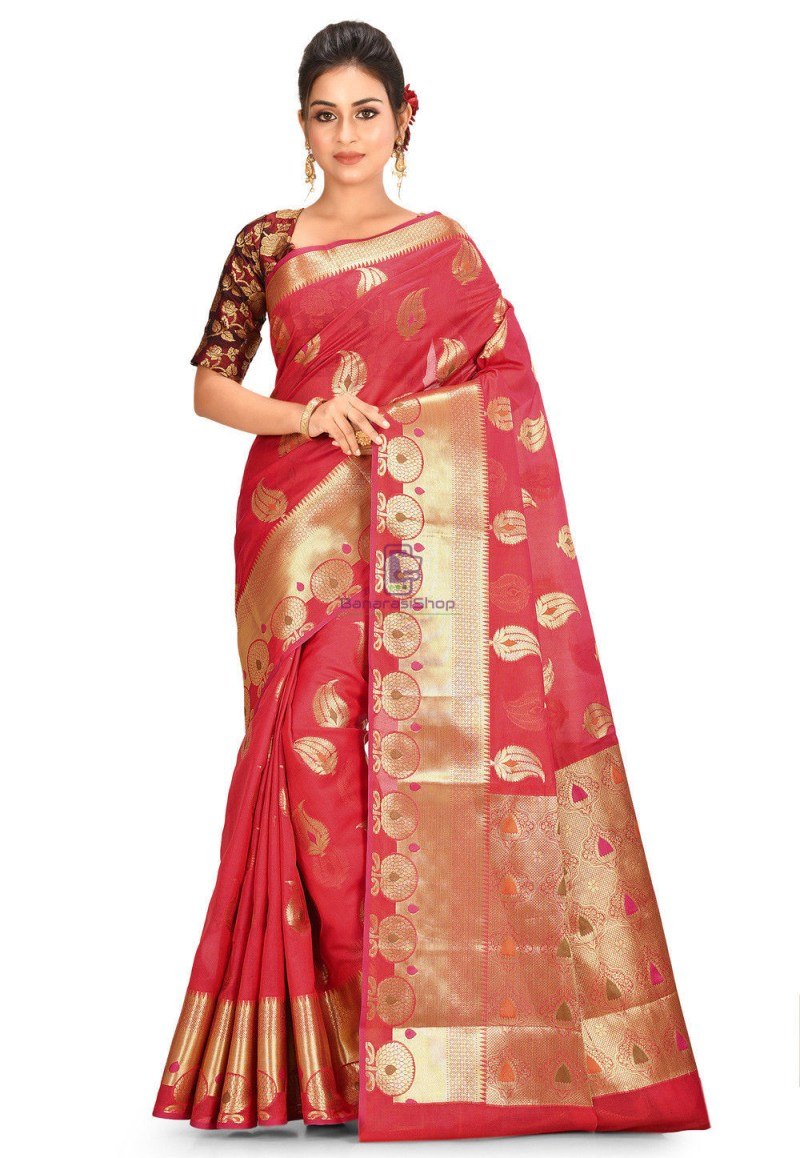 Woven Cotton Silk Saree in Red 1