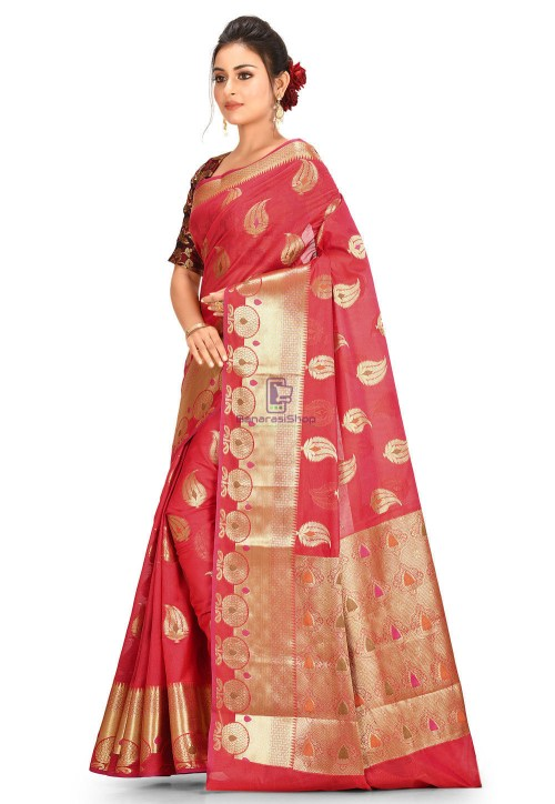 Woven Cotton Silk Saree in Red 5