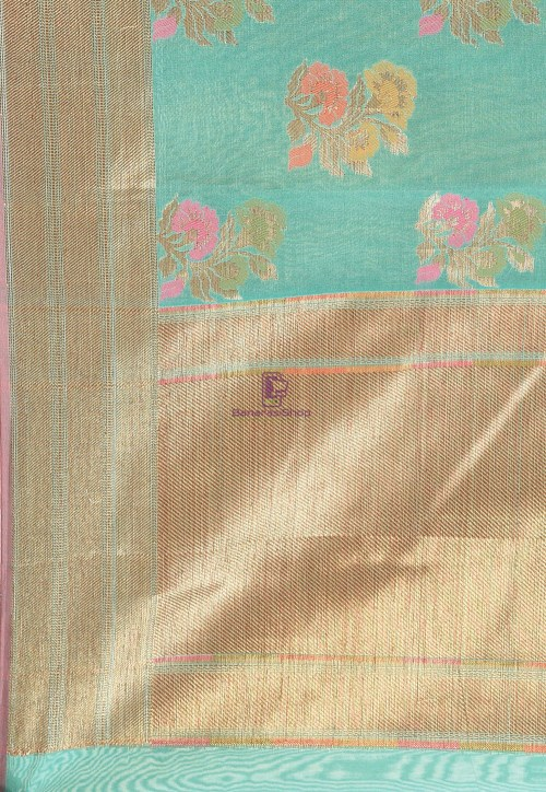 Woven Cotton Silk Saree in Teal Green 6